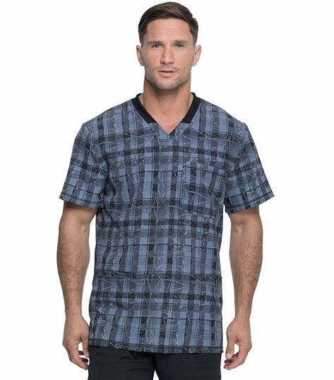 Dickies Dynamix Men's Rib Knit  Printed V-Neck Scrub Top-DK607