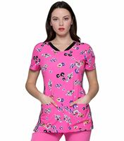 HeartSoul Women's Floral Printed V-Neck Scrub Top-HS721