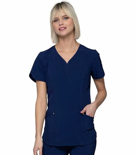 HeartSoul Women's Stylized V-Neck  Scrub Top-HS725