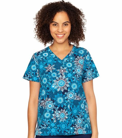 Med Couture Prints Women's Print V-Neck Anna Print Top-4030