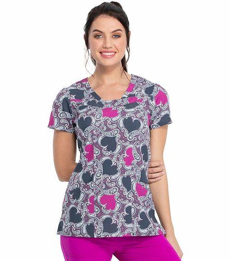 HeartSoul Women's V-neck Print Scrub Top-HS610