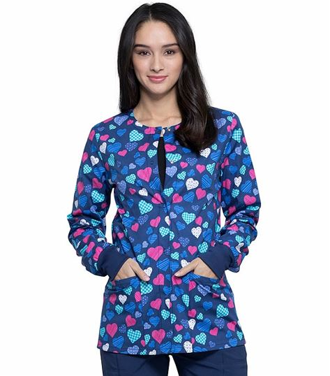 Cherokee Women's Snap Front Printed Warm-Up Scrub Jacket-CK301