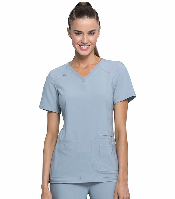 Cherokee V Women's Solid Panel Neck Iflex Ck605 Knit Scrub Top qSzUMGVpL