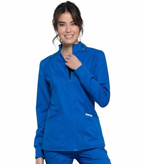 Cherokee Workwear Revolution Women's Zip Up Hi-Low Scrub Jacket-WW301