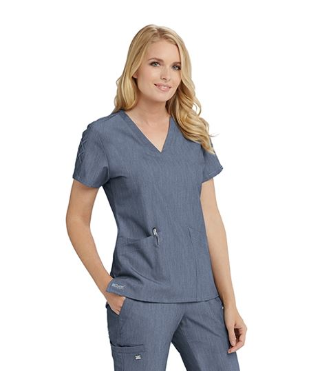Grey's Anatomy Signature Women's Lace Sleeve Scrub Top-GNT019