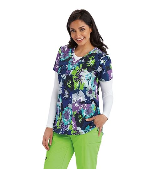 Grey's Anatomy Women's Printed V-Neck Scrub Top-41386