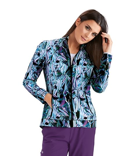 Barco One Women's Zip Up Origami Print Warm Up Scrub Jacket-5408