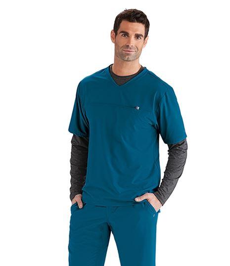 Barco One Wellness Men's  Velcro Pocket Scrub Top- BWT010