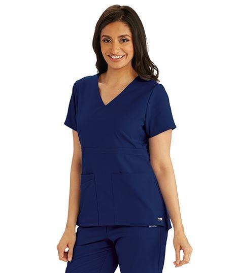 Grey's Anatomy Spandex Stretch Women's Empire Waist Scrub Top-GRST027