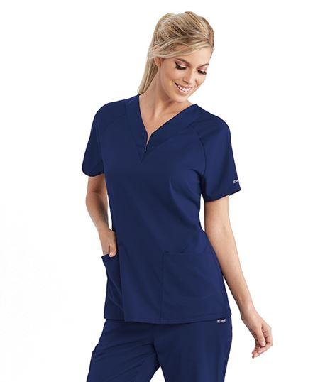 Grey's Anatomy Active Spandex Stretch Women's Zip V-Neck Scrub Top-GVST026