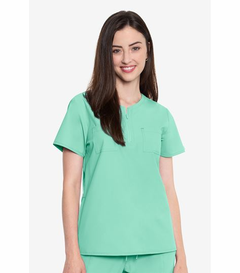Med Couture Peaches Women's Zip Neck Top-8407