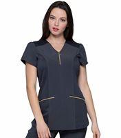 HeartSoul Women's Zip Front V-Neck  Scrub Top-HS715