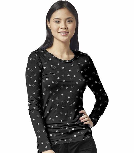 Wonderwink Layers Women's  Long Sleeve Printed Underscrub Tee-2409
