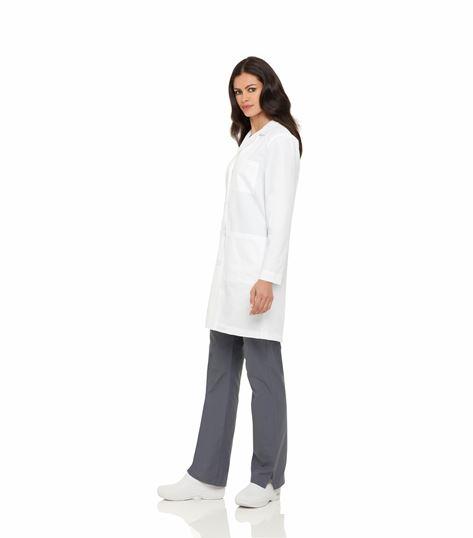 """Landau Women's 38"""" Button Front 3 Pocket Lab Coat-3155"""