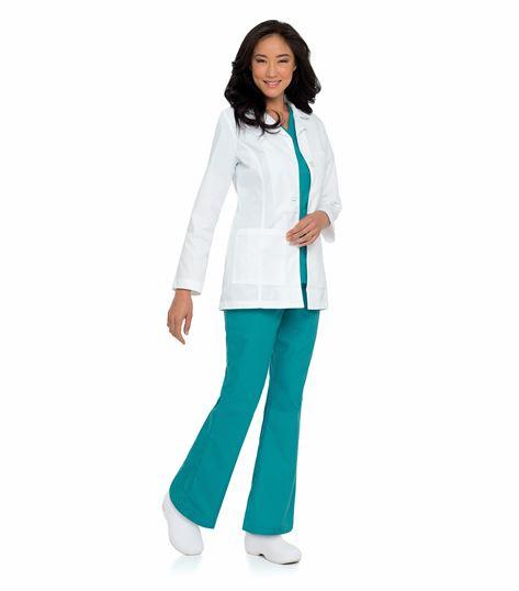 """Landau Women's 31"""" White Lab Coat With 3 Pockets-8726"""