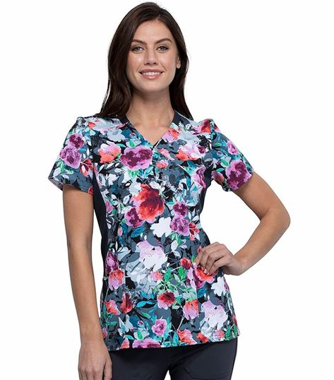Cherokee iFlex Printed Mock Wrap Knit Panel Scrub Top-CK642