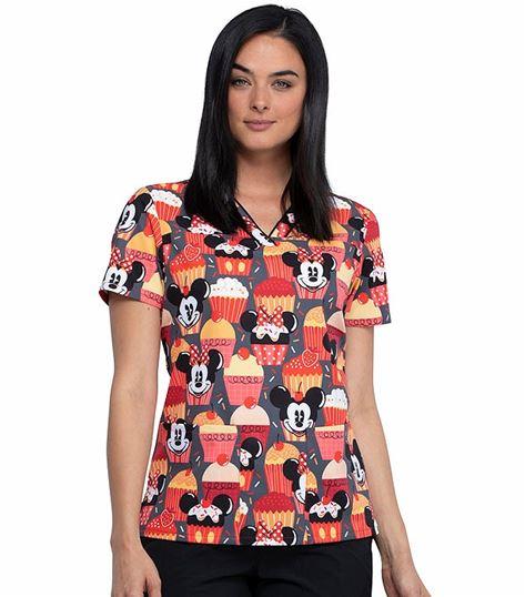Tooniforms Disney Women's Printed V-Neck  Scrub Top-TF610