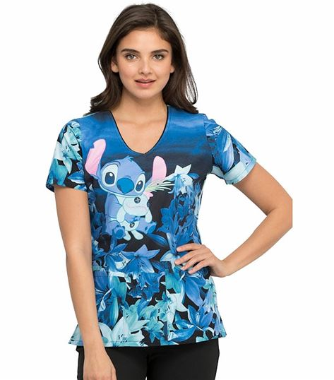 Cherokee Tooniforms Women's Cartoon Print V-Neck Scrub Top-TF614