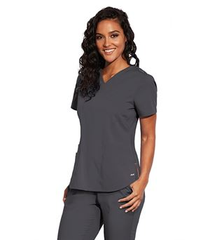 Motion by Barco 3 Pocket  V-Neck Rib Knit Scrub Top MOT001
