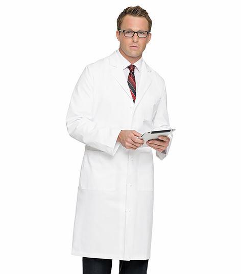 "Landau Men's Full Length 45"" Long White Lab Coat-3138"