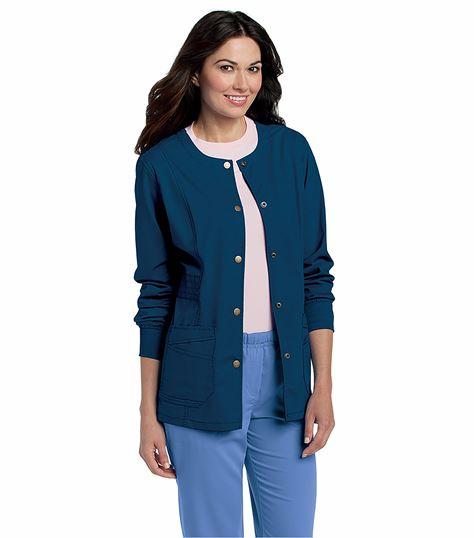 Landau Women's Snap Front Warm-Up Scrub Jacket-3035