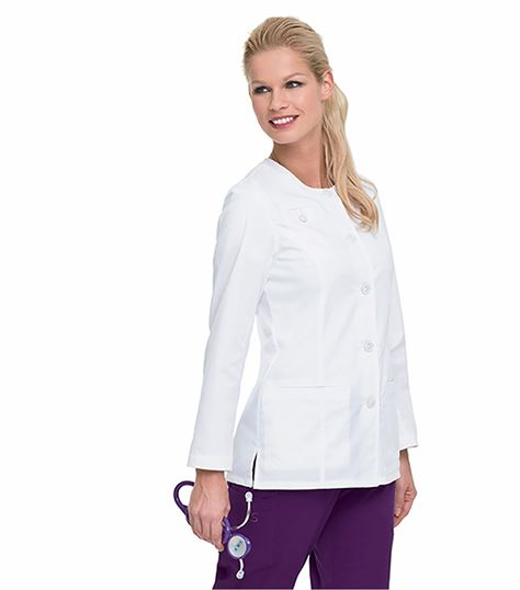 Landau Stretch Women's Button Front Warm-Up Scrub Jacket-3027