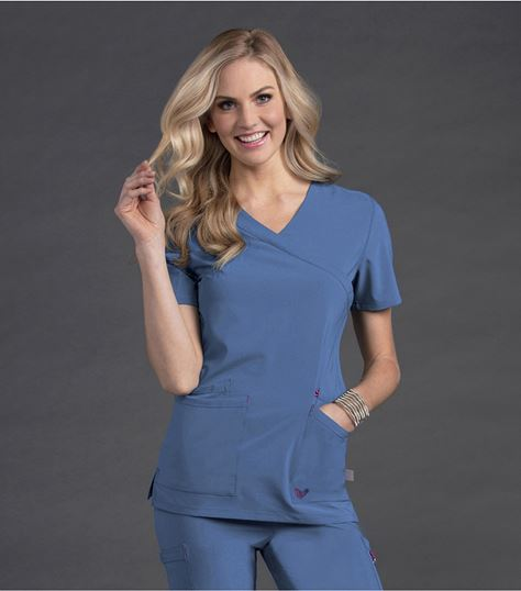 Smitten Women's Crossover Neckline Solid Tunic Scrub Top-S101033