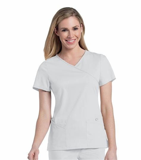 Urbane Women's Mock Wrap Solid Scrub Top-9577