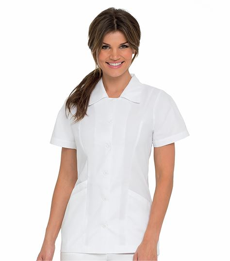 Landau Women's White Button Front Tunic Scrub Top With Collar-8051