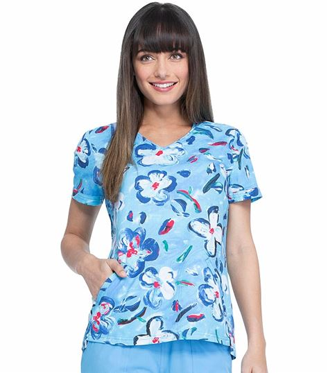 Elle Shaped V-Neck Floral Printed Scrub Top-EL760