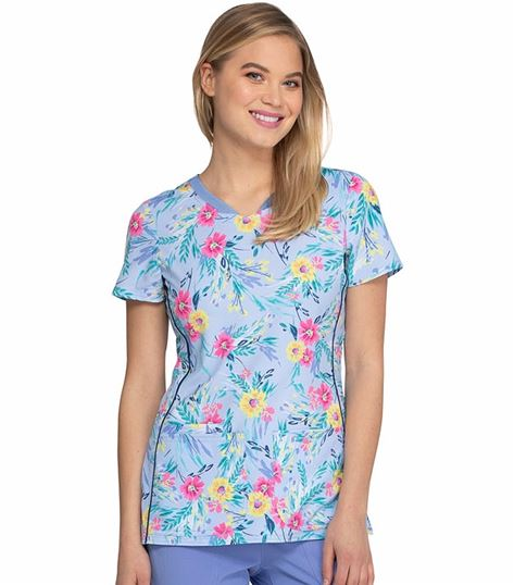 HeartSoul Fashion Shaped V-Neck Printed Scrub Top-HS601
