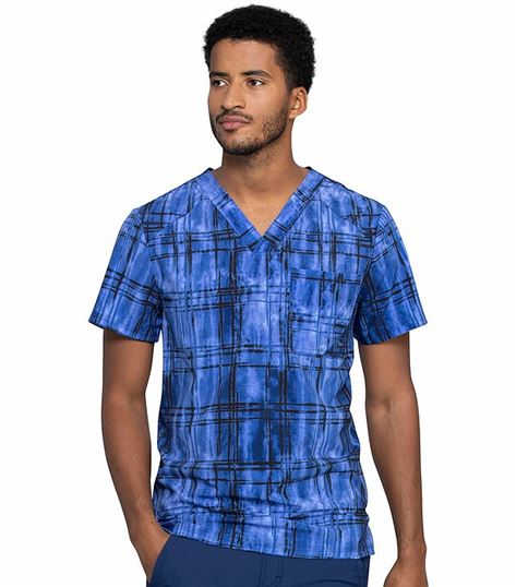 Cherokee Infinity Men's Abstract Print V-Neck Scrub Top-CK902