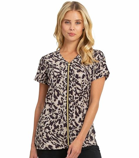 HeartSoul Printed Front Zip V-neck Scrub Top-HS656