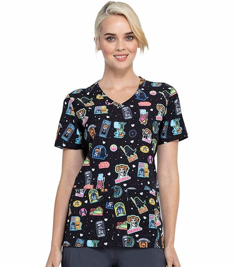 Tooniforms Disney Women's V-Neck Scrub Top-TF625