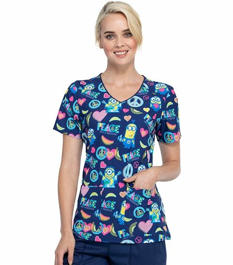 Tooniforms Disney V-Neck Valentine's Peanuts Scrub Top-TF659