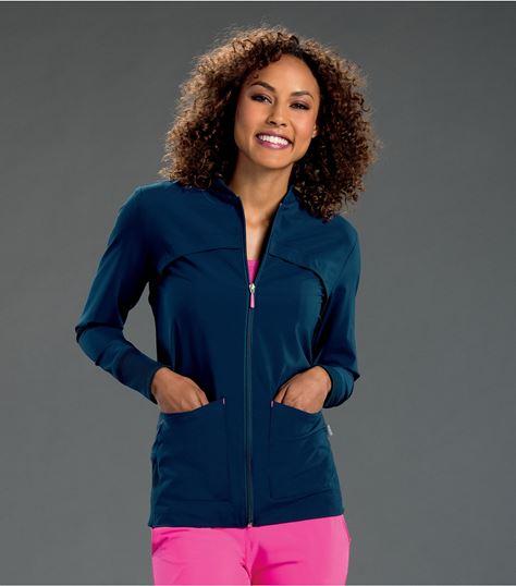 Smitten Women's Zip Front Scrub Jacket With Rib Knit Detail-S303008