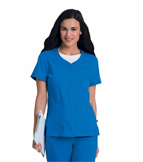Urbane Women's Short Sleeve Snap Front Warm-Up Scrub Jacket-9034