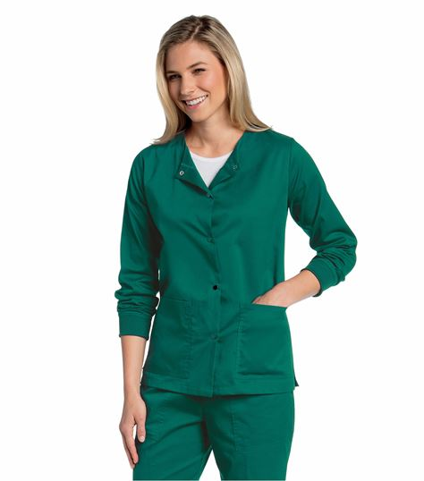 All Day by Landau WOMENS ALL DAY SNAP FRONT WARM UP SCRUB JACKET 3507