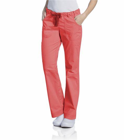 Landau Women's Elastic Waist Drawstring Cargo Scrub Pants-2024