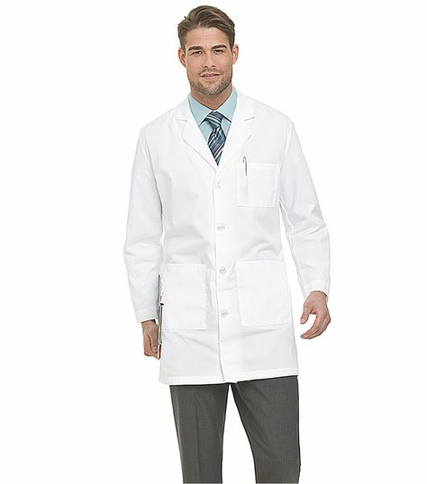"Landau Men's 37"" Long  4 Button White Lab Coat-3124"