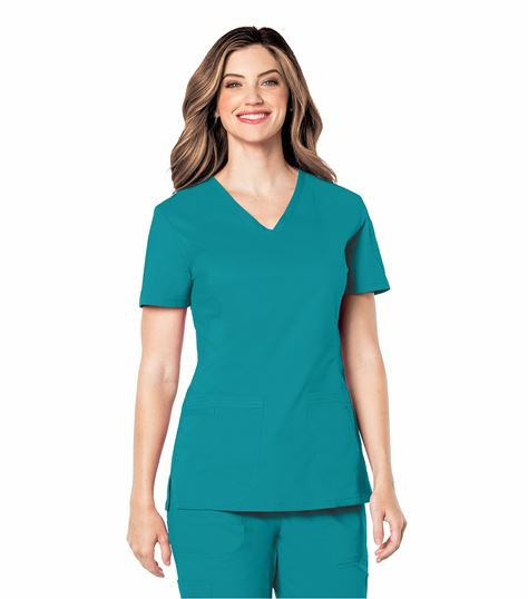 Landau Women's Solid V-Neck Prewashed Scrub Top-4125