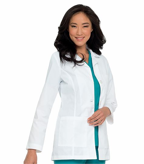 "Landau Women's 31"" White Lab Coat With 3 Pockets-8726"