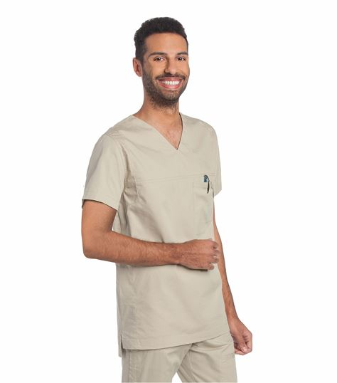 Landau Men's Ripstop Stretch V-Neck Scrub Top-4127