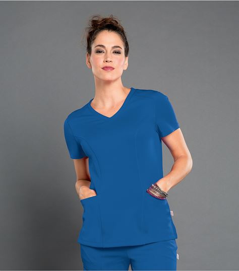 Smitten Women's Solid V-Neck Tunic Scrub Top-S101027