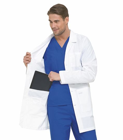 "Landau Men's 36"" White Notebook Lab Coat-3174"