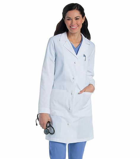 Landau WOMEN'S KNOT BUTTON LAB COAT 3172