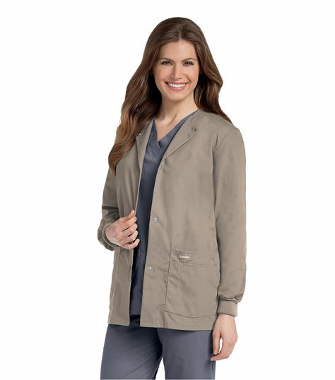 Landau Women's Snap Front Warm-Up Scrub Jacket-7525