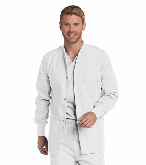 Landau Men's Snap Front Warm-Up Scrub Jacket-7551