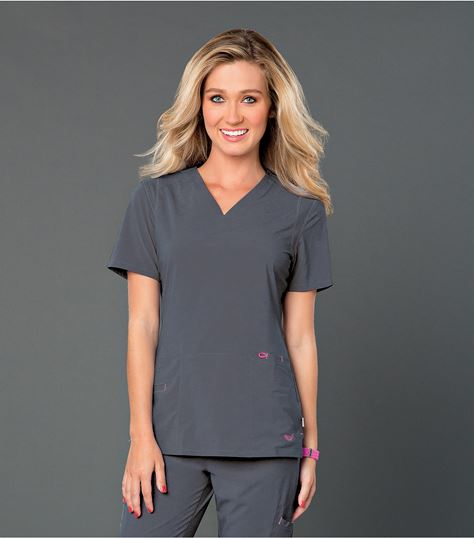 Smitten Women's Solid Athletic Fit V-Neck Scrub Top-S101002