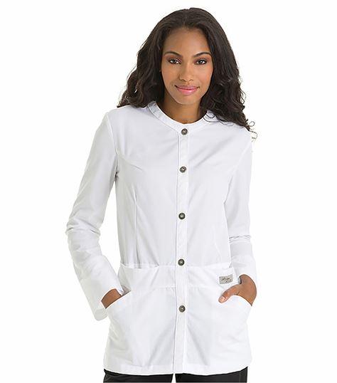 Urbane Women's Button Front White Lab Jacket-9607